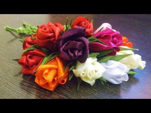 How to make a rose flower with ribbon, boutineer or corsage for Valentines Day - YouTube