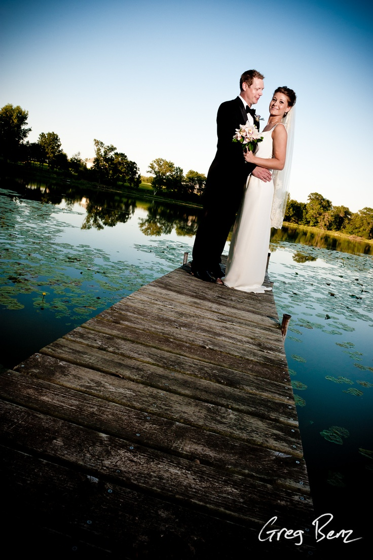 Bridal portrait on the dock.  Minneapolis wedding photographer Greg Benz.