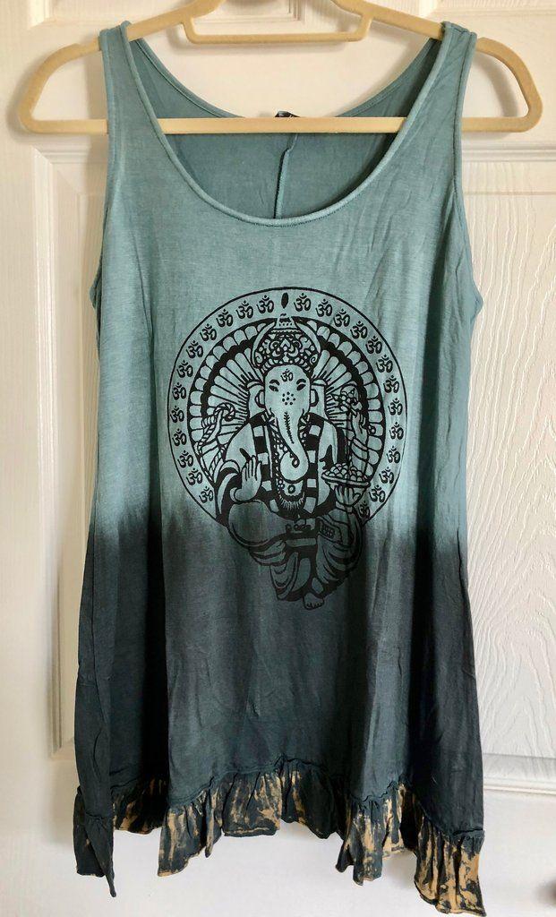 36f92c8939 Yak & Yeti Gray Blue Dip Dye Ganesh Print Sleeveless Tunic Shirt with  Ruffle Trim