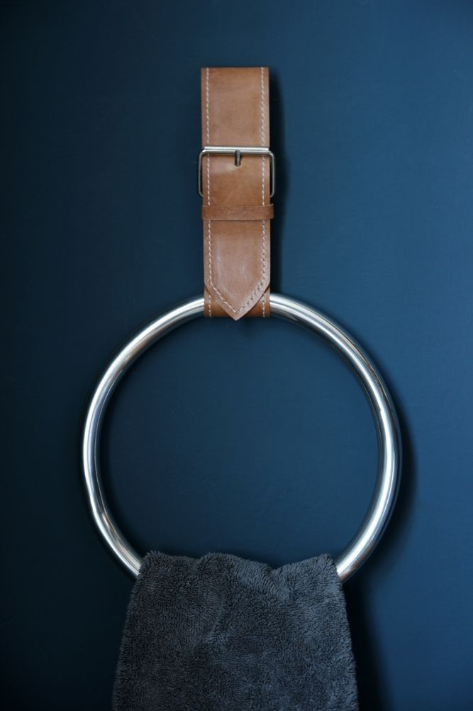 Simple Towel Ring With Faux Leather Strap - Home Accessories