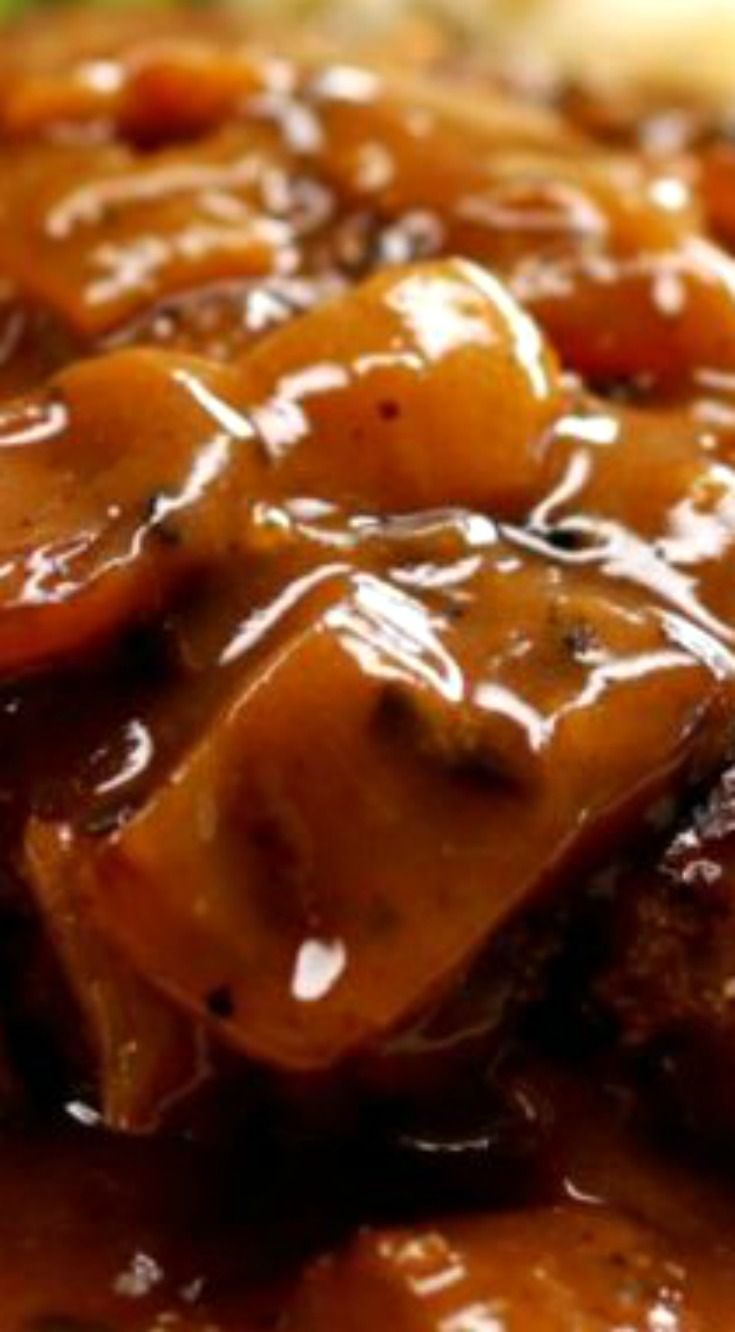 """Easy Salisbury Steak with Caramelized Onion Gravy ~ This homemade Salisbury steak is """"lick-the-plate"""" good... A great Salisbury steak begins and ends with a great gravy. The real highlight comes from all the flavors that simmer into the meat from our delicious gravy recipe."""