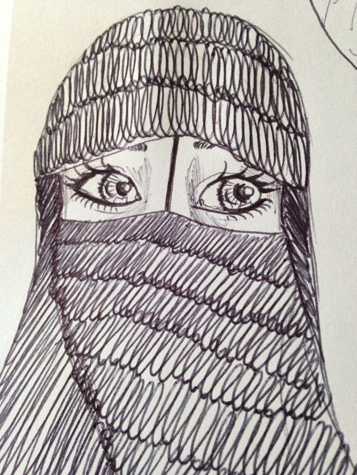 Viso di donna Musulmana. Tratto-penna - Anna Stile Jewels