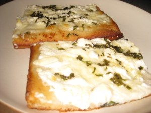 White Four-Cheese Pizza with Basil and Garlic