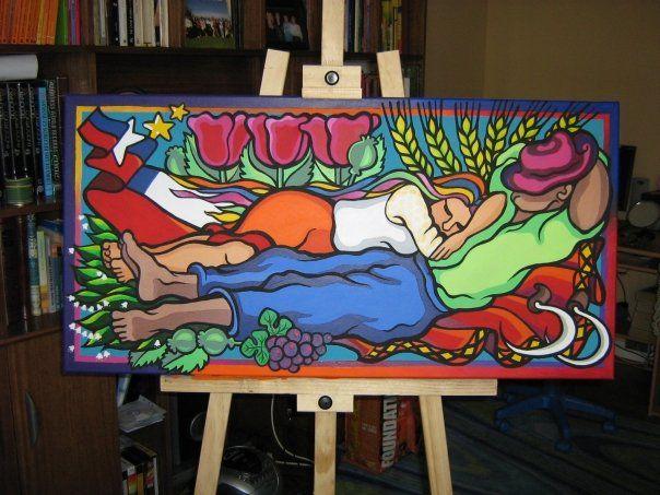 La siesta. Cita a Klimt ... chilenizada Acrílico sobre tela  60 x 120 cms