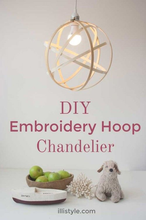 Embroidery fan? Try this #DIY Embroidery Hoop Chandelier, perfect for a craft room!