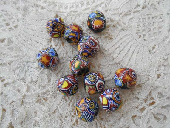 Antique millefiori beads x 11