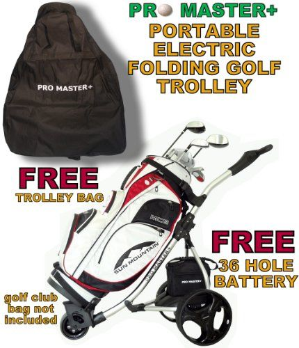 From 2.99:LIGHTWEIGHT PROMASTER PLUS DIGITAL FOLDING ELECTRIC GOLF TROLLEY CART CADDY WITH 36 HOLE BATTERY