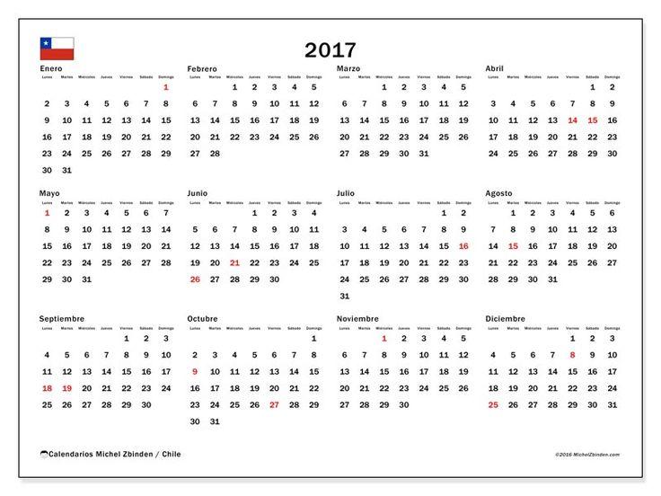 Calendario  2017 para imprimir, gratis. Calendario anual : Días feriados Chile - Gregorius. La semana comienza el lunes