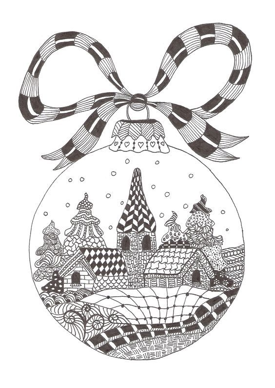 Zentangle made by Mariska den Boer 66 - small christmasgreetingcard: