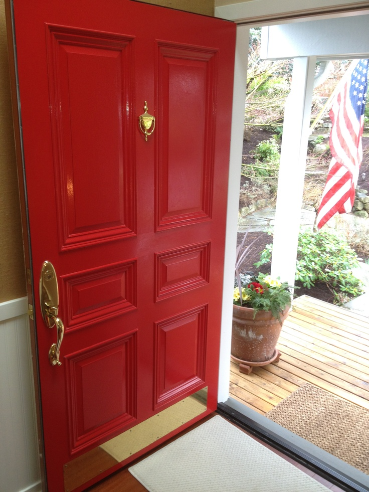 All American Red Door With Flag. Since My House Is Red And White, I