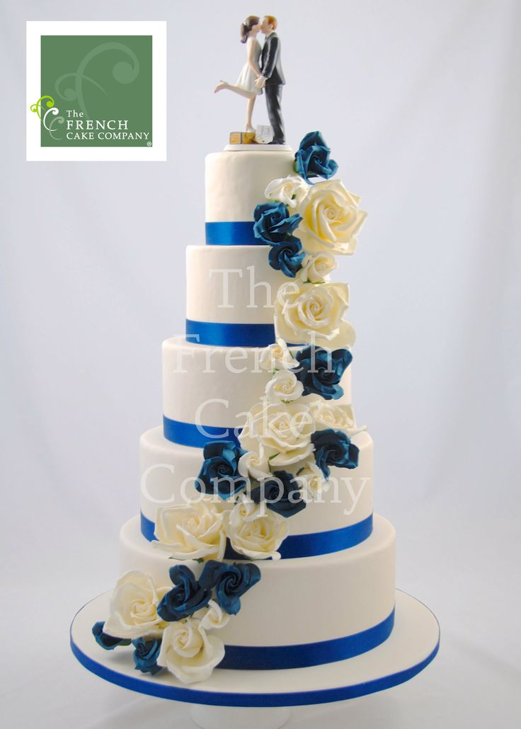 Wedding Cake Blue and White Flowers - Piece Montee Mariage Fleurs ...