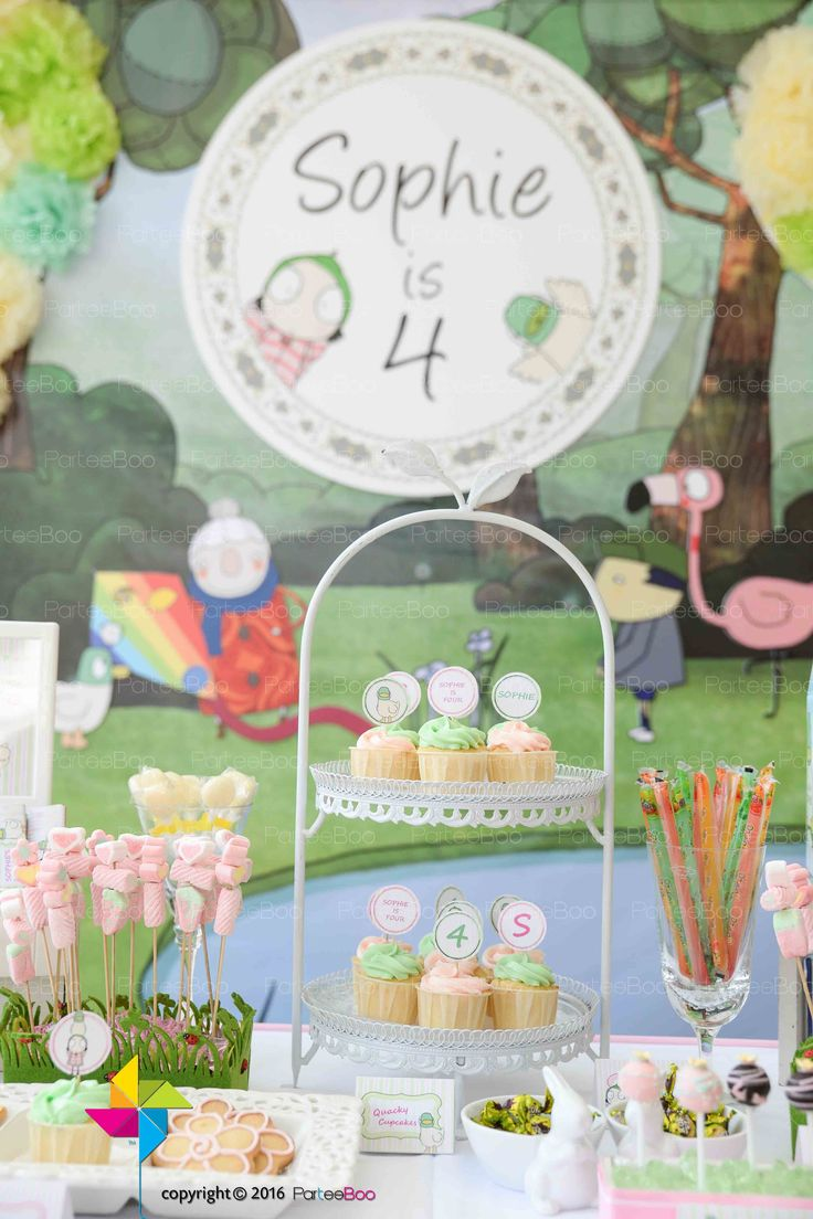 Some of the goodies on the candy buffet, all customised to the Sarah and Duck theme that we designed for Sophie's 4th birthday!