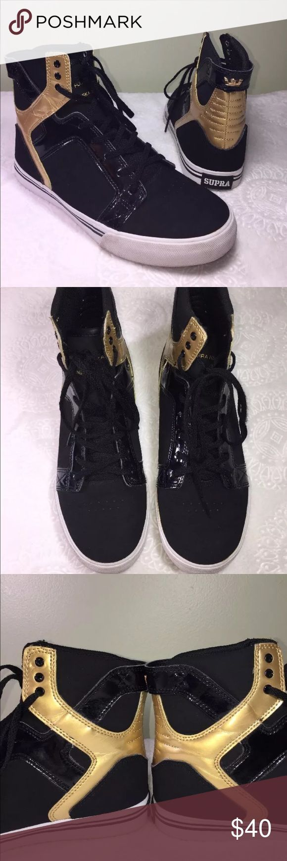 SUPRA Sky Top Muska Leather Skate Shoes Black Gold SUPRA Sky Top Muska Leather Skate Shoes Black And Gold Boys Size 6 some wear will show in pictures SUPRA Shoes Sneakers