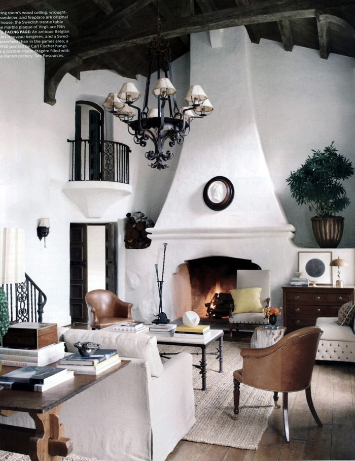 Song of Style: Reese Witherspoon Vacation HomeReesewitherspoon, Reese Witherspoon, Living Rooms, Elle Decor, Ree Witherspoon, Fireplaces, California Home, Livingroom, Spanish Style