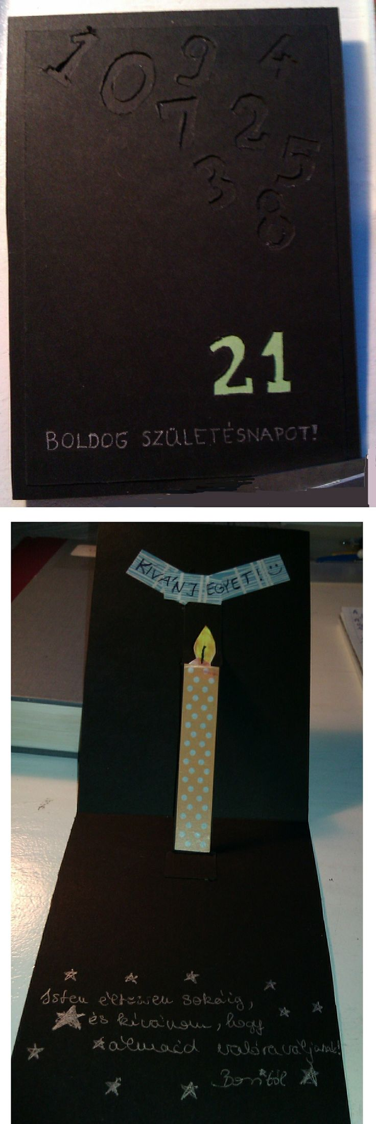 21th Birthday Card for boys with candles