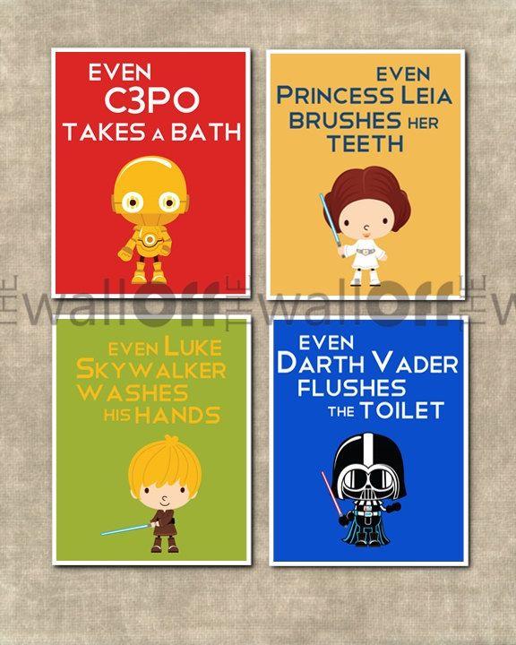 Star Wars Bathroom Set  Set of 4 8x10  Even by OffTheWallbyLeah, $37.00