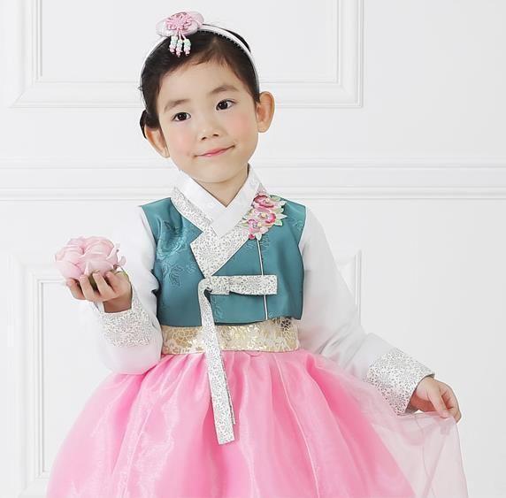 Girl Hanbok Dress Korean traditional Korea Baby 1st birthday Party Blue Pink…