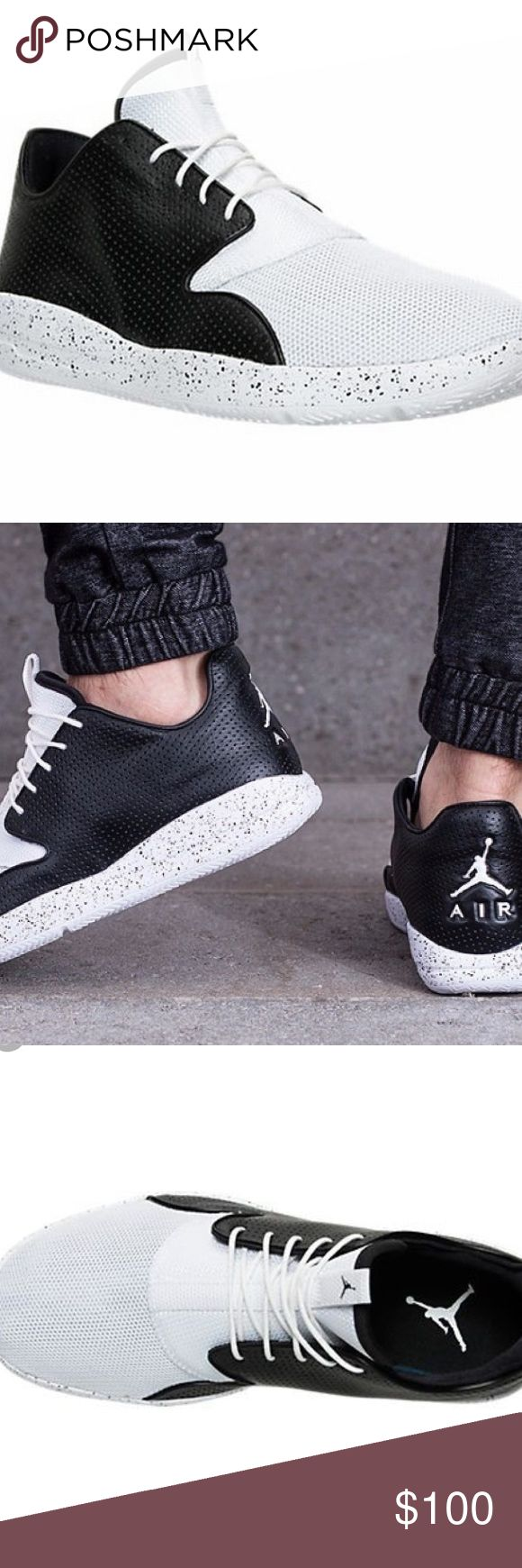 Mens NIKE JORDAN ECLIPSE Black/White Trainers Pre Owned Condition--- Very good 100% Authentic!!  upper: leather / mesh lining: textile sole: rubber  Black / White Colours Jordan logo lace up Air Jordan Shoes Sneakers