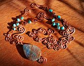 Copper Turquoise Scroll Wrap Wire Necklace by AnntasticJewelry