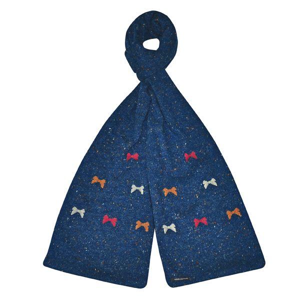 Handmade Knitted Bow Scarf - Blue - Fair Trade