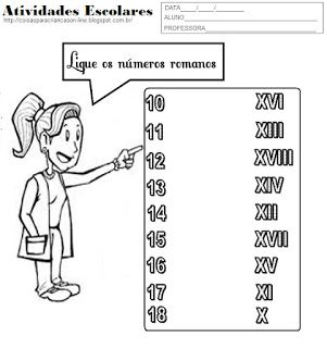 Atividades para Crianças: Ligue os Numeros Romanos                                                                                                                                                                                 Mais