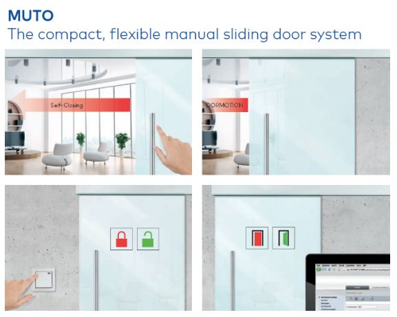 MUTO is compact and multifunctional It is a manual sliding door that is very easy to install. This flexible system with many variations allows for all relevant functions to be configurable from the front. In addition, you benefit from comfort options such as a self-closing function and an integrated lock without an external power supply.