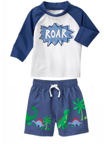 e1a5edae0c GYMBOREE ROAR Boy's Swimsuit Long Sleeve RASH GUARD + Dinosaur Trunks NWT  Infant #Gymboree #SwimTopBottoms