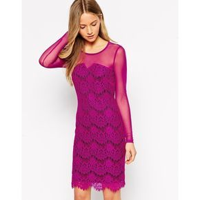 Traffic People Neverending Story Lace Dress with Mesh Sleeves ($42) ❤ liked on Polyvore featuring dresses, purple, sheer lace dress, lace dress, sheer-sleeve dress, pink bodycon dress and mesh bodycon dress
