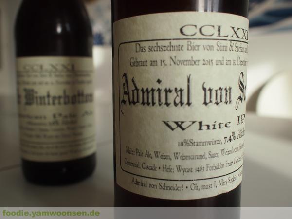 Selbstgebrautes Silvesterbier aus Winterthur:  Mr. Winterbottom und Admiral von Schneider