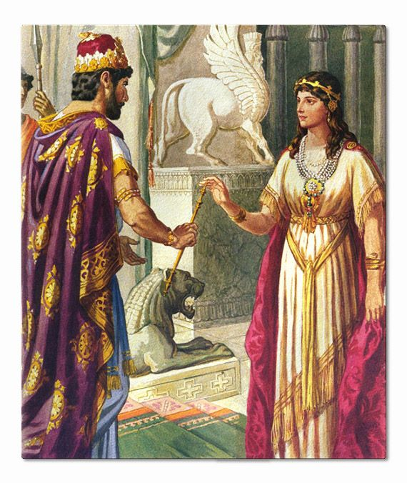 Xerxes the Great with Queen Esther Esther's dress serves as inspiration for Nisha's coronation dress in book 4 of the 5 Kingdoms Series.