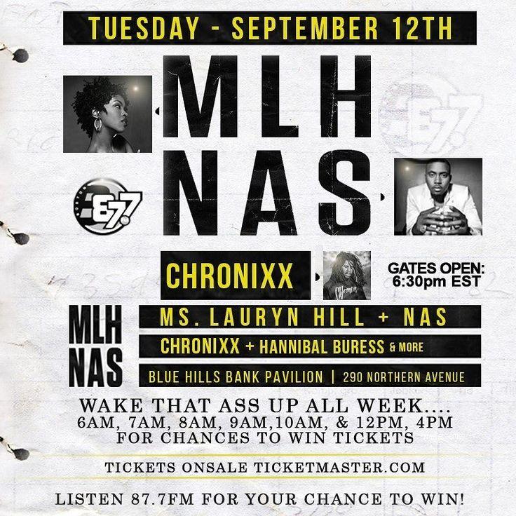WE GOT YOUR CHANCE TO WIN MLH & @NAS tickets Sept. 12th @BHBPavilion! #OfficialEndOfSummer Get tixs HERE http://livemu.sc/2vMyQR1. Gates 5:30pm Show 6:30pm. All ages event! Listen b87fm.com @B87FM #NITM Wkdys 6:30-10:30am for EXCLUSIVE chances to win tickets. Buy tixs ticketmaster.com all local ticket outlets. #MsLaurynHill #Nas #Chronixx #b87fm #B87Summa For more info b87fm.com