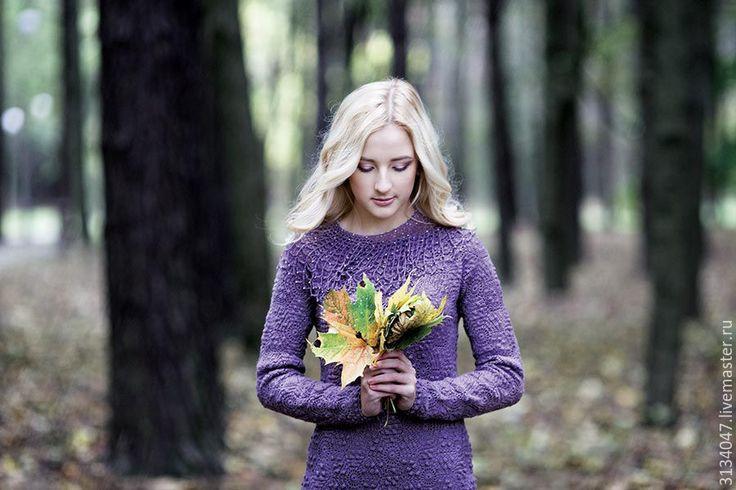 Купить Прощаясь с ноябрем... - сиреневый, однотонный, платье вязаное, виноград, ноябрь, платье из шерсти, фактура