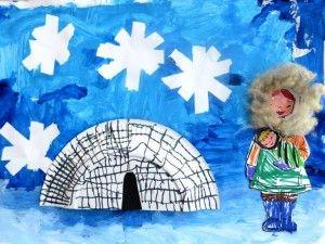 Plakboek: Collage Noordpool voor kleuters, met werkbeschrijving 1, kleuteridee.nl