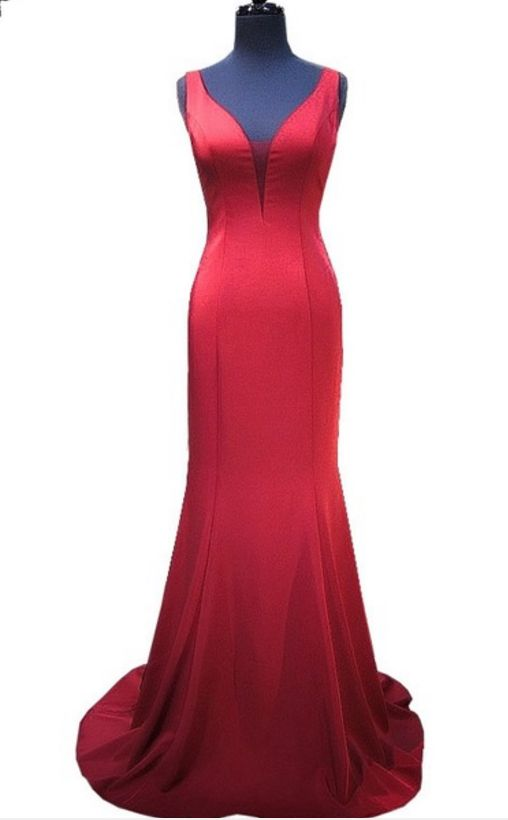 A simple v-neck sleeveless mermaid style gown, African floor-length satin gown, formal evening dress