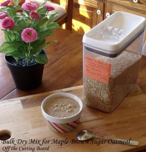 Make a bulk batch of Maple Brown Sugar Oatmeal up and then scoop out as needed for a quick morning breakfast. So much cheaper than store-bought packets!