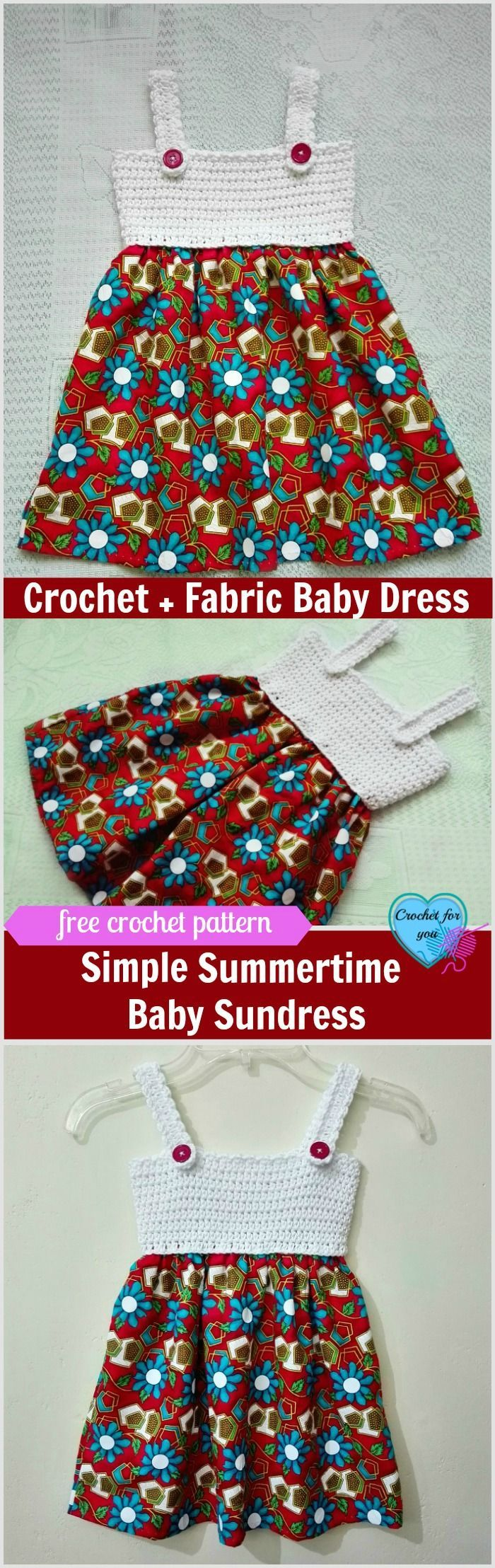Simple Summertime Baby Sundress Free Crochet + Fabric Pattern