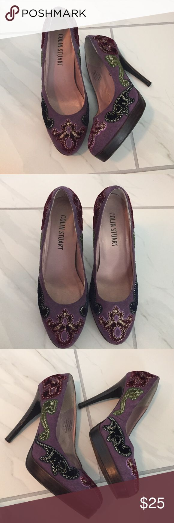 Colin Stuart (VS) Purple Heel with Adorable Detail Purchased from Victoria Secret for $60, only worn a few times. 4 inch heel. Colin Stuart Shoes Heels