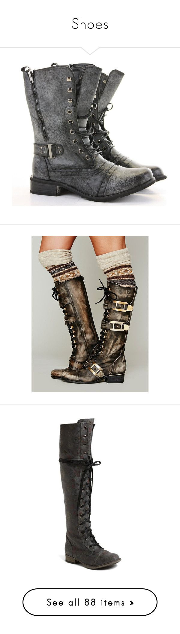 """""""Shoes"""" by shelbykins-blu ❤ liked on Polyvore featuring shoes, boots, ankle booties, footwear, botas, punk combat boots, ankle combat boots, military combat boots, flat ankle boots and short boots"""