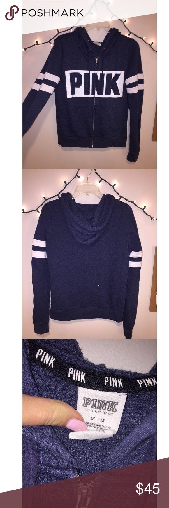 VS PINK RARE Varsity Zip Up Hoodie Not sold in stores!! Super rare varsity striped zip up! PINK Victoria's Secret Tops Sweatshirts & Hoodies