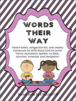 Words Their Way for Letter Name spellers Homework and Parent information packet... huge time saver!