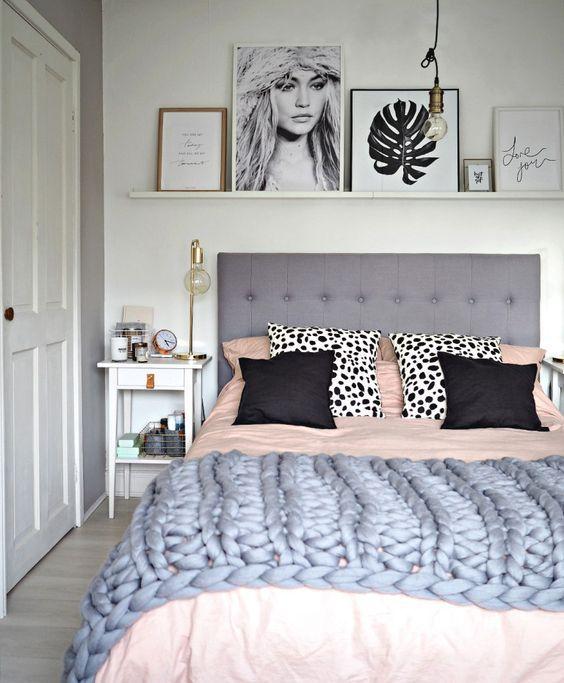 grey + blush bedroom