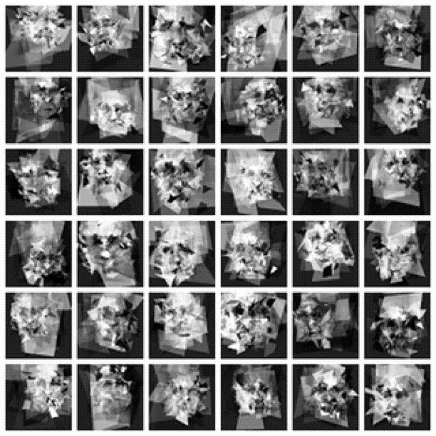 """made a thing that makes faces: (random polygon generator —> cv face detector <—> mutation algorithm)"" —philmccarthy"