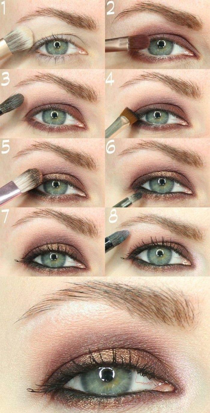 tuto maquillage yeux verts, fard a paupiere en rose et marron