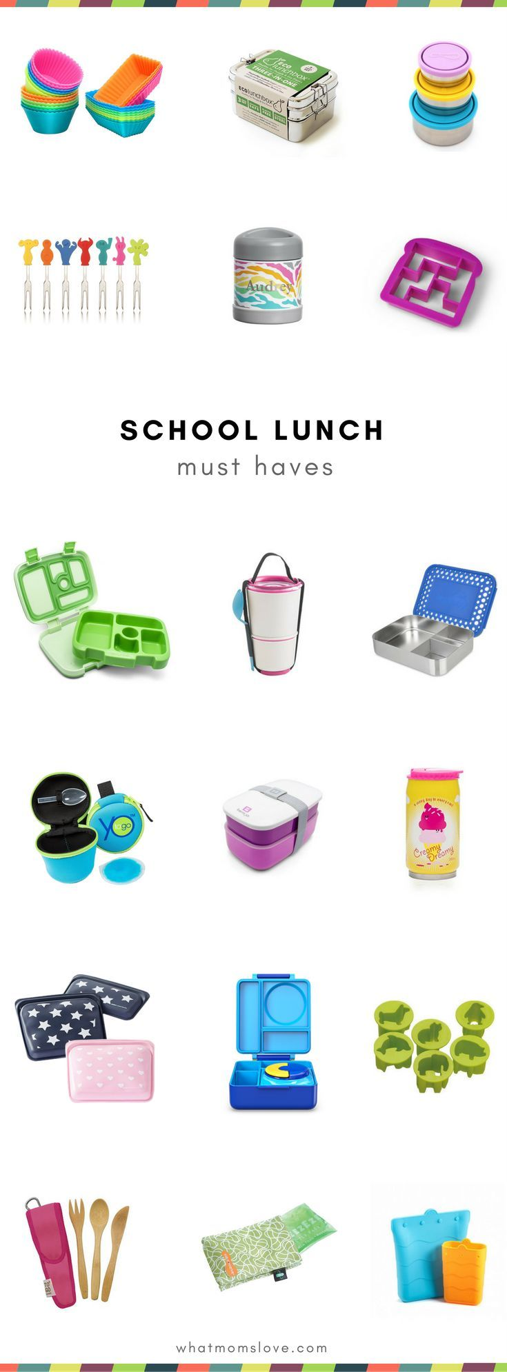 School Lunch Box containers, supplies and tools to pack a great school lunch for kids | Best bento boxes, water bottles, thermos, reusable stainless steel containers and more! | Part of the best Back to School Guide on the planet