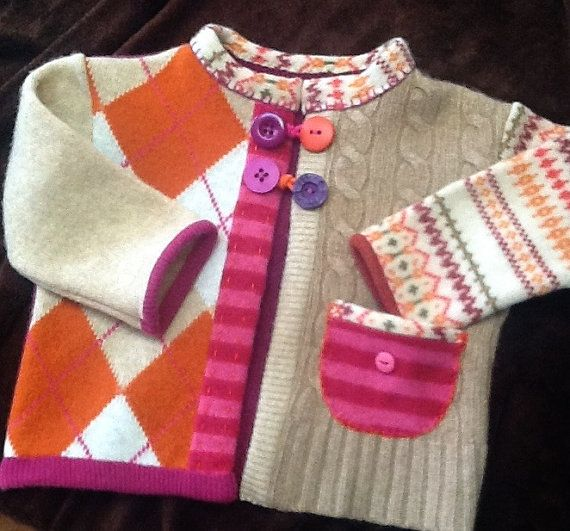 Felted Wool Girl's Sweater 1824m by TreasuredHeart on Etsy, $35.00