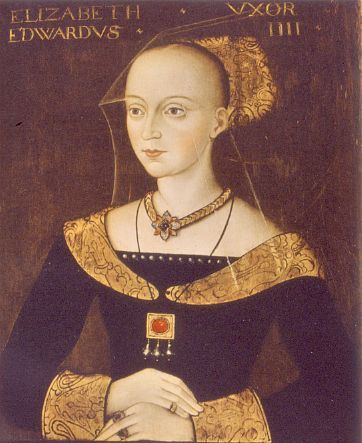 A legendary beauty, Elizabeth Woodville was the first child of Sir Richard Woodville (later the first Earl Rivers) and Jaquetta of Luxembourg. She was a maid of honour to Margaret of Anjou. Her first marriage was to Sir John Grey of Groby (died in battle 1461). She secretly married King Edward IV of England in April 1464, and was crowned Queen in May 1465. My 15th great grandmother.