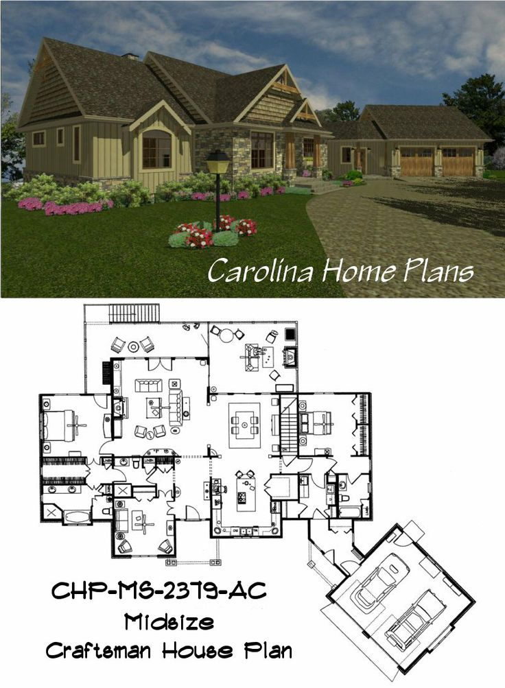 Craftsman Style House Plan With Split Bedroom Layout Plan
