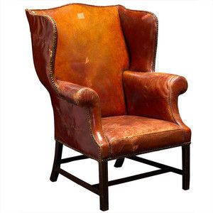 obsolete oversized english bordeaux leather wingback chair