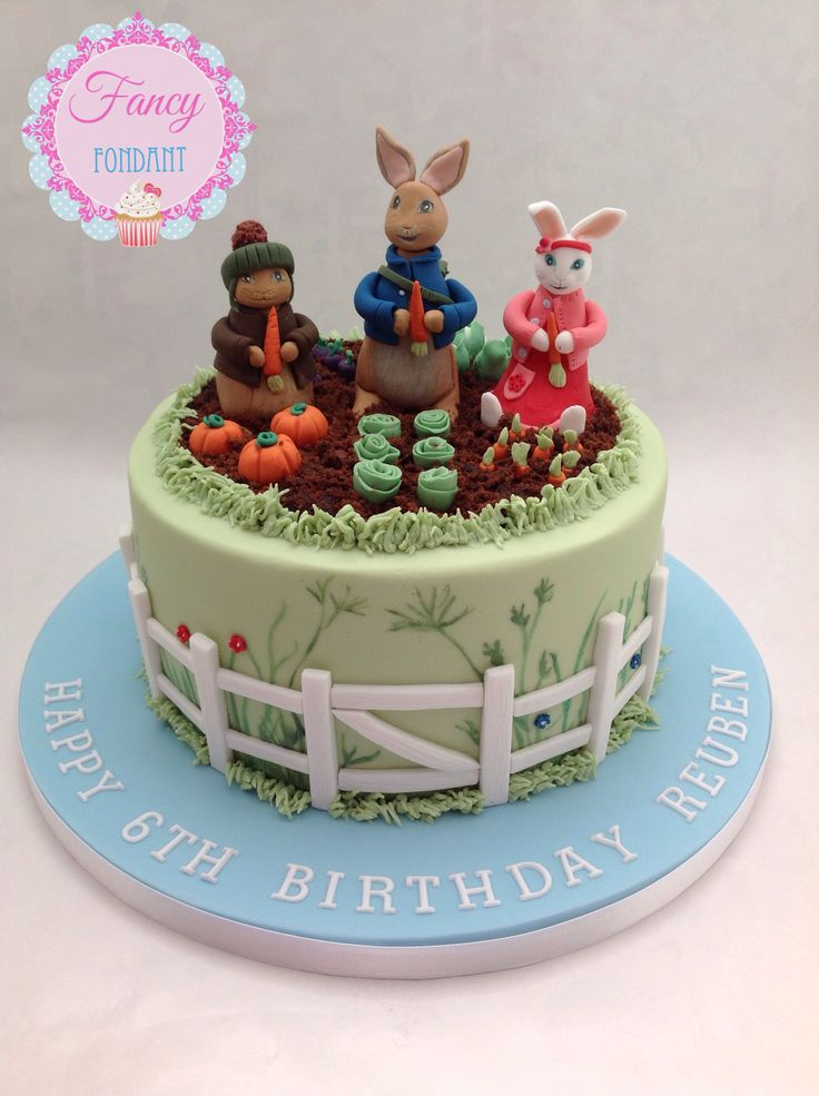 A Beatrix Potter Peter Rabbit cake modelled from the TV series by Fancy Fondant
