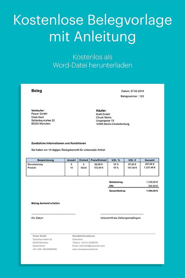 Kostenlose Belegvorlage In Word Mit Anleitung Buchfuhrung Lernen Excel Tipps Rechnungsvorlage